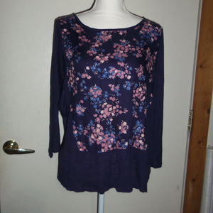 Lucky Brand Floral BOHO Top M